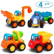 Flipzon Toddler Baby Toy Push and Go Friction Powered Car Unbreakable Automobile Toy Set for Children Boys Girls Kids Gift- Tractor, Bulldozer, Mixer Truck and Dumper(Set of 4)