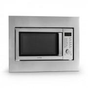 Klarstein Steelwave four micro ondes 23L 800W grill 1000W acier + set encastrement