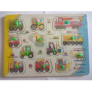 Abaj Colourful Wooden Vehicle Shapes with knob Learning Boards(Vehicle) (Multi-Colour)