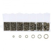 DIY Crafts Mixed Size Mix Iron Open Jump Rings Nickel Free Antique Bronze Plated Unsoldered Round Ring Connectors for Chainmail Jewelry Bracelet Necklace Making