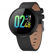 CAVO V06C IPS Color Round Screen IP67 Waterproof Health Monitoring Smart Wristband [Leather Strap] - Black