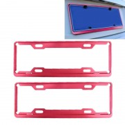 2 PC's auto License Plate Frames auto Styling Kentekenplaat Frame aluminiumlegering universele nummerplaat houder auto Accessories(Red)