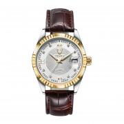 Reloj De Pulsera De Acero Inoxidable 629-003 TEVISE Mecánica Impermeable Reloj De Pulsera - Blanco Y Marrón