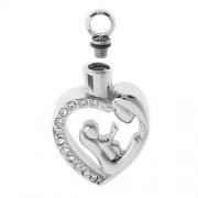 ELECTROPRIME® Crystal Rhinestone Hollow Heart Stainless Steel Cremation Pendant Jewelry
