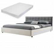 [my.bed] Elegantná manželská posteľ s LED osvetlením - matrac zo studenej HR peny - prešívaná - 140x200cm (Záhlavie: alcantara koženka sivá / Rám: alcantara koženka sivobiela) - s roštom