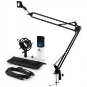 Auna MIC-900WH-LED USB set de micrófonos V3 micrófono de condensador+brazo de micrófono cardioide LED blanco (60001956-V3)
