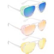 NuVew Aviator, Shield Sunglasses(Green, Blue, Orange, Golden, Yellow)