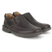 Clarks Untilary Easy Brown Leather Slip on For Men(Brown)