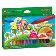 Creioane cerate soft, triunghiulare, cutie carton, 12 culori/cutie, ALPINO DacsTrix