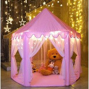 Ejoyous Princess Castle Kids Play Tent, Baby, Toddler, Child, Girls Indoor And Outdoor Play House With Star LED Lights, Large, Pink