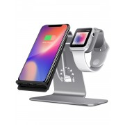 BESTAND 2-in-1 Phone Wireless Charging Stand + Charger Stand Holder for Apple Watch/iPhone X/8 Plus/8 - Grey