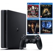 Sony PlayStation 4 Slim 500GB + Sleeping Dogs Definitive, Deus Ex: Mankind Divided, The Hobbit An Unexpected Journey & Самоличност