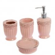 Set cu 4 piese roz pentru baie model in relief