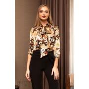 Bluză dama cu imprimeu floral si guler tip esarfa S (36)