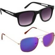 S Jari Rectangular Sunglasses(Black, Multicolor)