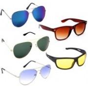 Well Shaded Aviator, Wayfarer Sunglasses(Blue, Green, Yellow, Brown)