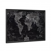 [art.work] Designový obraz na stěnu - hliníková deska - mapa světa - zarámovaný - 60x80x2,8 cm