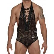 Candyman Halter Lace Up Mesh Body Jock Costume Black 99436