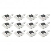 vidaXL Candeeiro de exterior solar LED 12 pcs branco quadrado 12 cm