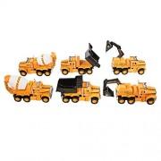 TukTek Kids First Road Builder Friction Powered 6 Piece Toy Construction Site Truck Playset w/ Dump Trucks