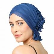 Chemo Beanies® - Headwear Covers for Hair Loss Muriel (Blue Ocean Ruffle)