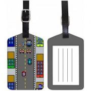 Nutcase Designer Luggage Travel Baggage SET OF 2 PU Leather Tags - VIDEO GAME