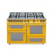 Lofra Pg126smfe+mf/2ci Giallo 120x60 Cucina Con Piano In Acciaio Satinato - 7 Fuochi A Gas Di Cui 1 Tripla Corona E 1 Dual - 3