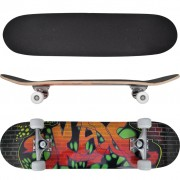 vidaXL Oval Shape Skateboard 9 Ply Maple Graffiti Design 8""