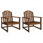 vidaXL Cadeira de jardim com apoio de braços 2 pcs madeira de acácia