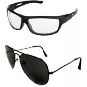 I KING Aviator, Wrap-around Sunglasses(Clear, Black)