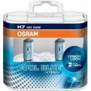 Set 2 becuri auto cu halogen pentru far Osram H7 12V 55W PX26 Cool Blue Intense