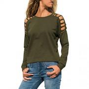 KCPer playeras sueltas para mujer con tirantes y hombros descubiertos, camisetas básicas de verano a la moda, cuello redondo sólido, mangas largas, sin mangas, Verde, xl