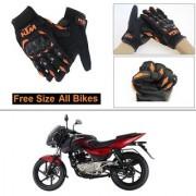 AutoStark Gloves KTM Bike Riding Gloves Orange and Black Riding Gloves Free Size For Bajaj Pulsar 180 DTS-i