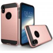 Para IPhone X Textura Cepillada TPU + PC Dropproof Volver Funda Protectora (rosa De Oro)