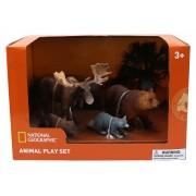 Set 4 figurine Elan, Raton, Urs, Castor National Geographic, 3 ani+