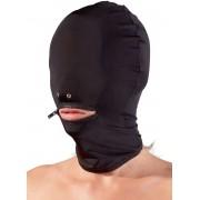 Cappuccio con fori nasali per respirazione e zip altezza bocca - Nero