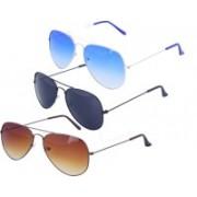 Roadway Aviator Sunglasses(Black, Brown, Blue)