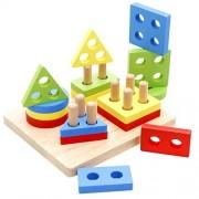 DUBU Shape Sorter, Wooden Geometric Sorting Board, Puzzle Building Block Set Early Learning for Baby Kids Blocks Sorter