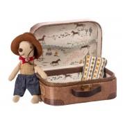 Maileg Cowboy in suitcase, little brother mouse - taille 8 cm - à partir de 36 mois