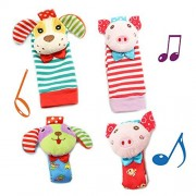 Daisy 4PCS Baby Wrist Rattle and Foot Finder Socks Set Development Soft Adorable Animal Rattles Infant Baby Toys - Pig and Dog