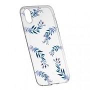 Husa Silicon Transparent Slim Blue Flowers 116 Apple iPhone X