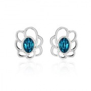 Mahi Rhodium Plated Blue Oval Floral Earrings Made with Swarovski Elements