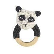Panda Virkad Skallra Med Träring, Panda
