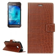 Samsung Galaxy Xcover 4 Case, G390F Case, Crocodile Texture Horizontal Flip Leather Case with Holder & Card Slots & Wallet (Brown)