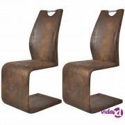 vidaXL Blagovaonske stolice od umjetne kože 2 kom smeđe