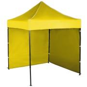Gyorsan összecsukható sátor 2x2 m – acél, Sárga, 2 oldalfal