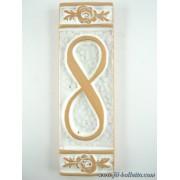 Numero civico ceramica con fiore bianco nfb8