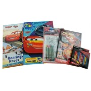 Disney Pixar Cars Bundle: 5 Items Cars 3 Color and Pay Come and Roaring Races Cars / Planes Coloring Books, Piston Cup Sticker Book, Cars 2 Color Your Own Puzzle, and Box of 24 Cars Crayons