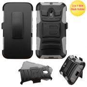 Clip Dual Protector Mixto c/pie Motorola G 3ra Gen Negro / Gris