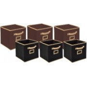 Billion Designer Non Woven 6 Pieces Small & Large Foldable Storage Organiser Cubes/Boxes (Coffee & Black) - CTKTC35377 CTLTC035377(Brown & Black)